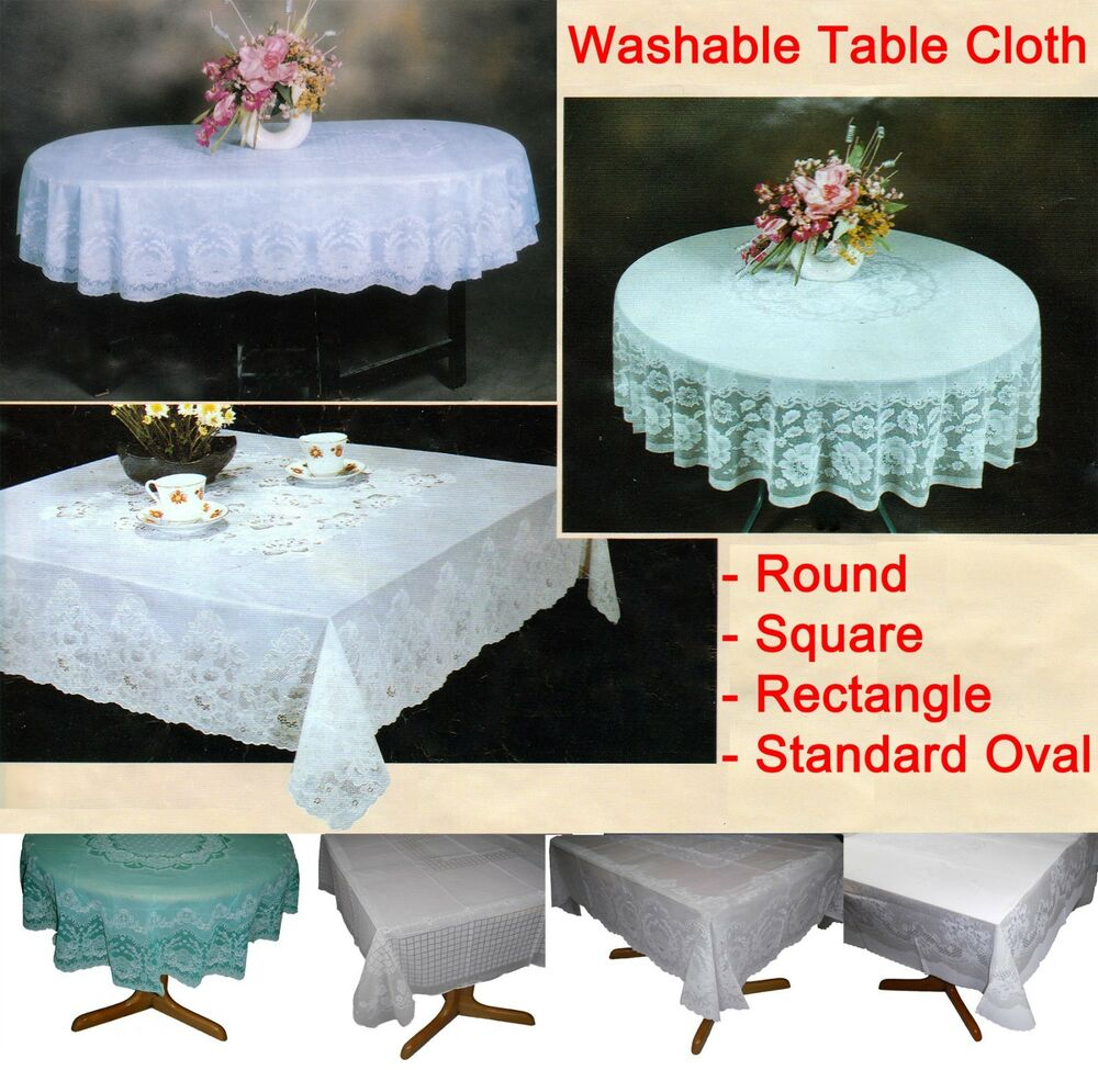Table Cloth Cover Tablecloth Round Square Oval Rectangle Plastic Lace Pattern Ebay