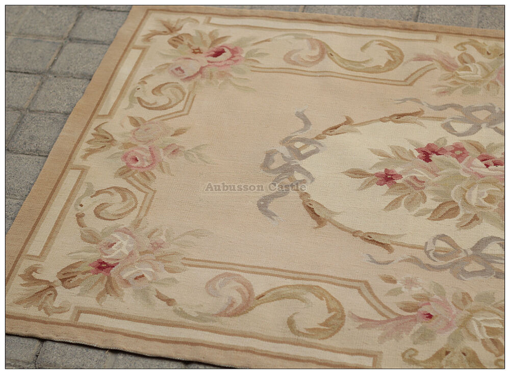 3x5 Aubusson Area Rug Antique French Pastel Wool