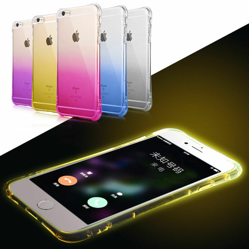 2016 Clear LED Light TPU Silicone Cover Case For Apple iPhone 6 6S Plus 4.7