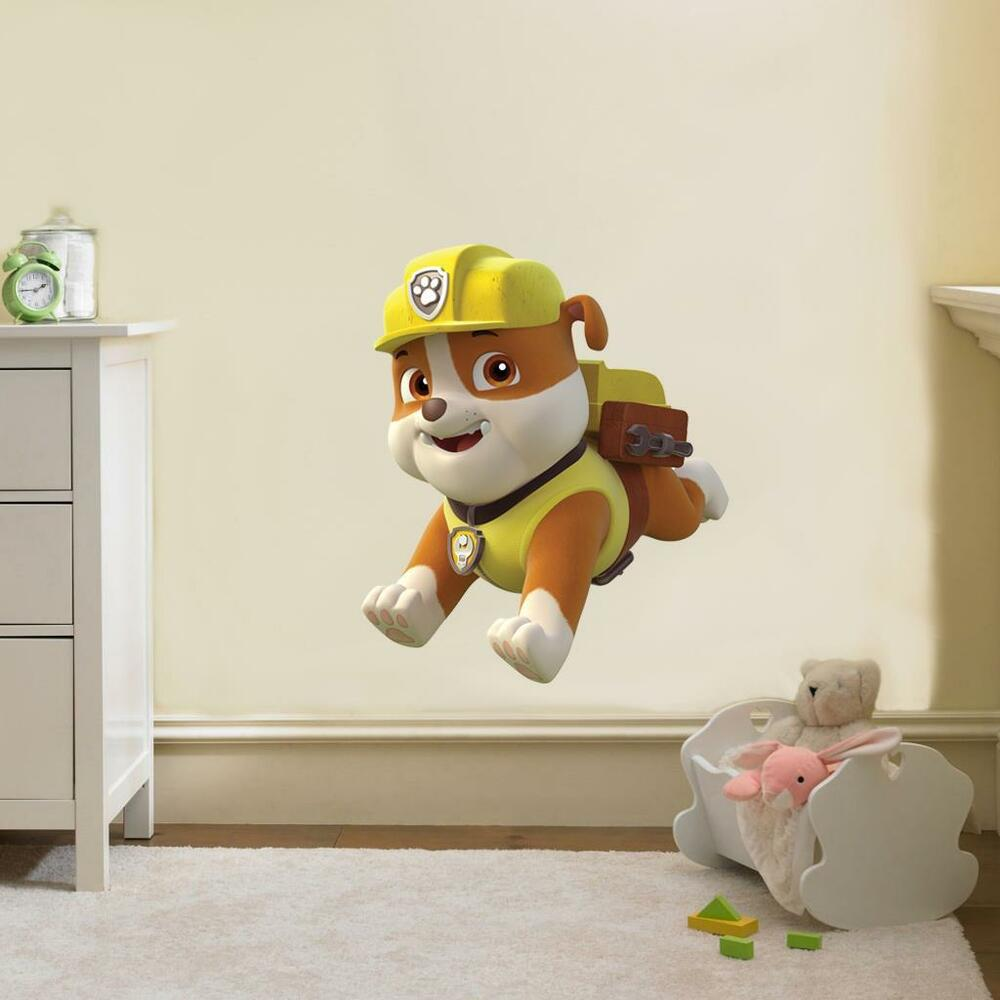 paw patrol rubble decal removable wall sticker home decor. Black Bedroom Furniture Sets. Home Design Ideas