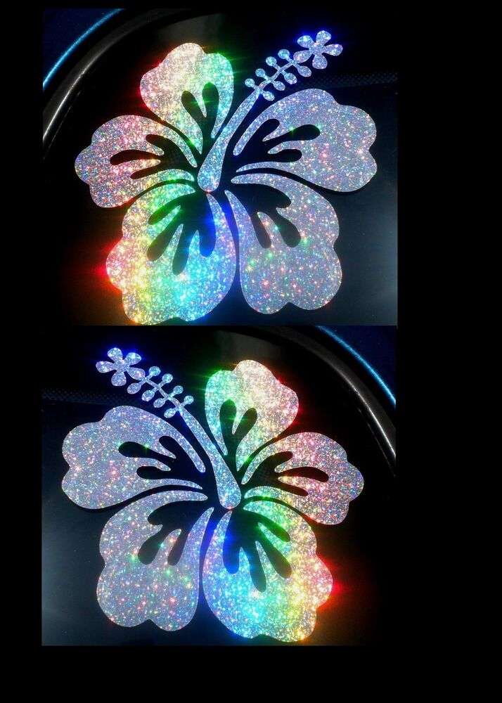 Set of 2 Rainbow Holographic Hibiscus Car Decal Window ...