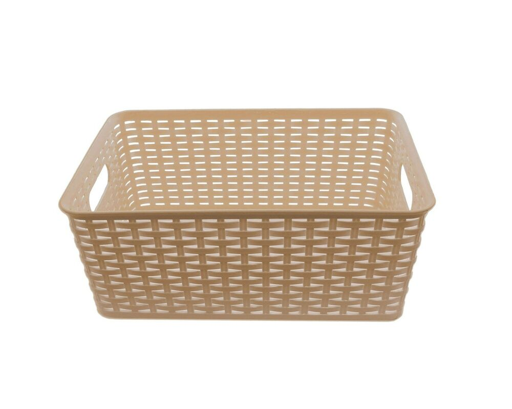 ybm home plastic rattan storage box basket organizer ba413. Black Bedroom Furniture Sets. Home Design Ideas
