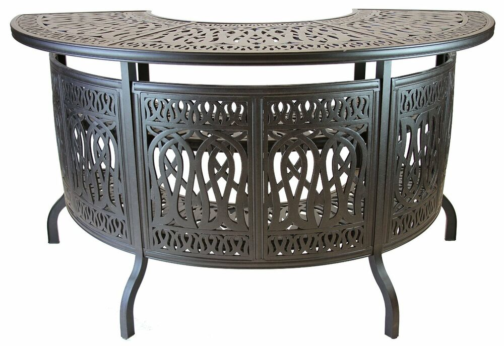 elizabeth outdoor patio party bar table cast aluminum dark bronze ebay. Black Bedroom Furniture Sets. Home Design Ideas