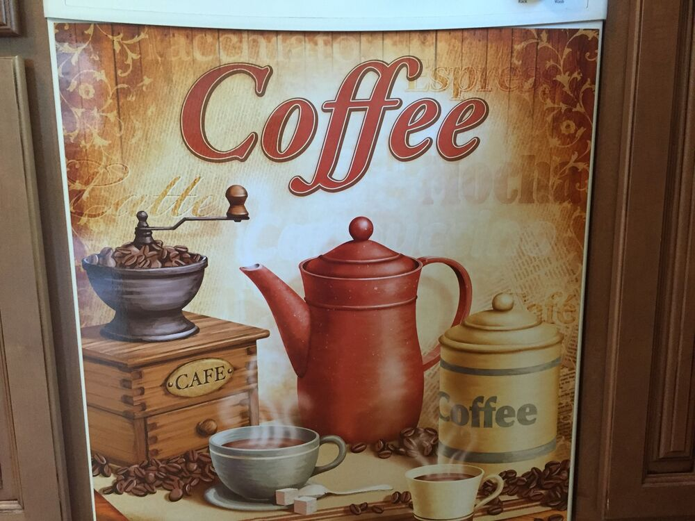 Nostalgic vintage coffee dishwasher cover cup mug latte for Coffee kitchen designs
