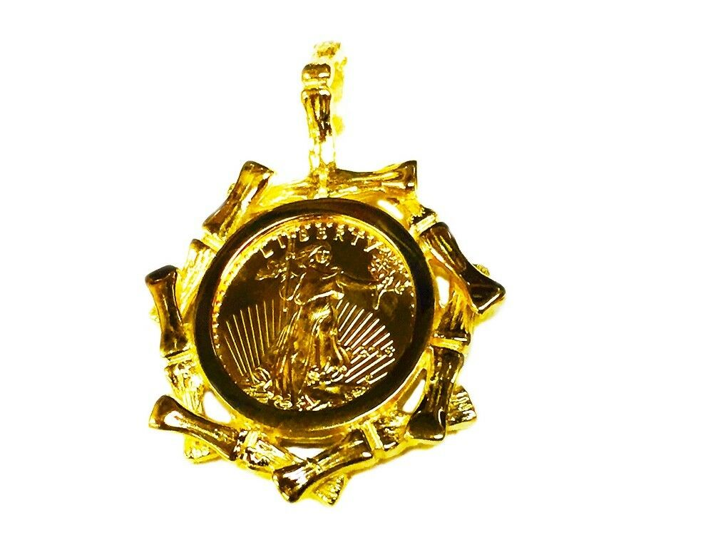 22kt Fine Gold 1 10 Oz Lady Liberty Coin In 14k Yellow Gold Bamboo Frame Pendant Ebay