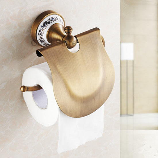 Bathroom toilet paper holder antique brass wall mount Antique toilet roll holders