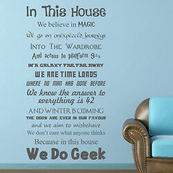 In This House WE DO GEEK   Vinyl Wall Art Sticker   Decal Quote Films Wording