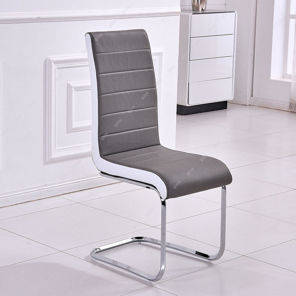 Charm grey white sides faux leather chairs high back for High back leather dining room chairs