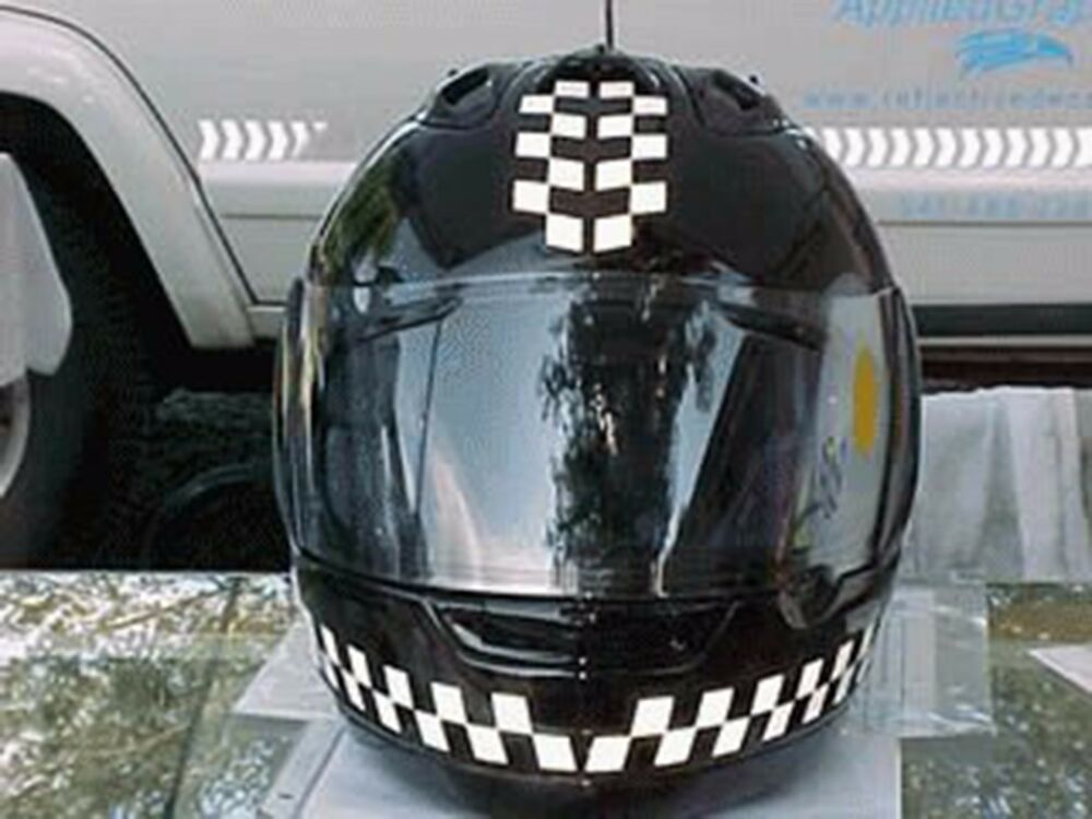 Reflective Motorcycle Helmet Decal Kit - Checkers - Black ...