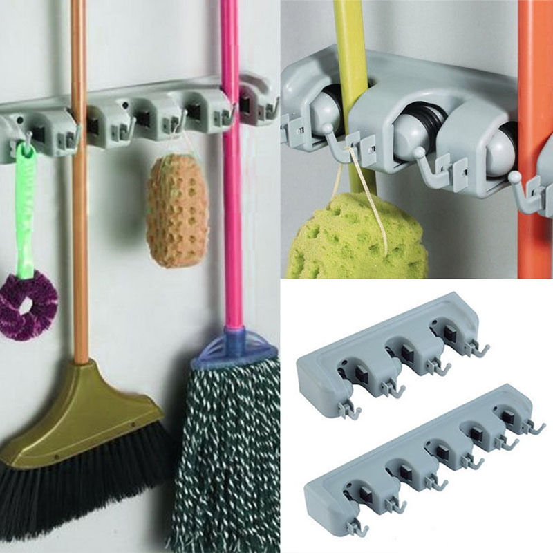 wand befestigter mop organisator halter pinsel besen aufh nger rack werkzeug ebay. Black Bedroom Furniture Sets. Home Design Ideas