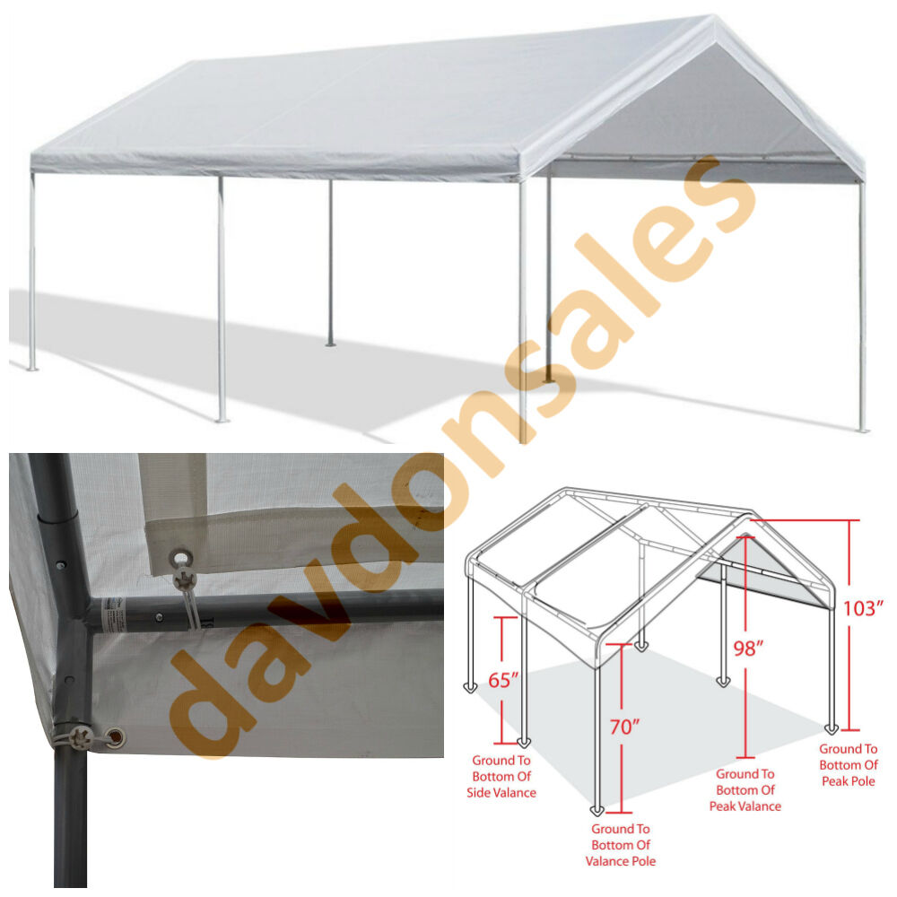 Car Canopy Steel Frame : Car canopy shelter cover garage white  vehicle
