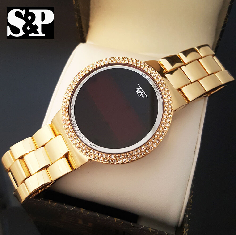 Hip hop iced out digital touch screen gold plated lab for Rapper watches