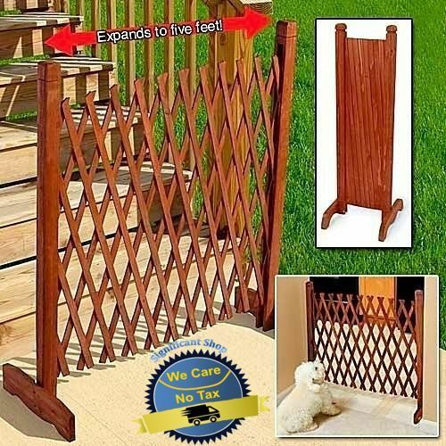 Expanding Portable Fence Wooden Screen Gate Kid Safety Dog