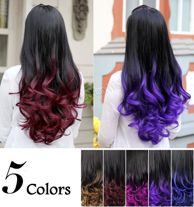 on sale 3 4 half wig two tone hair fall ombre wig colored curly wig gradient wig ebay. Black Bedroom Furniture Sets. Home Design Ideas
