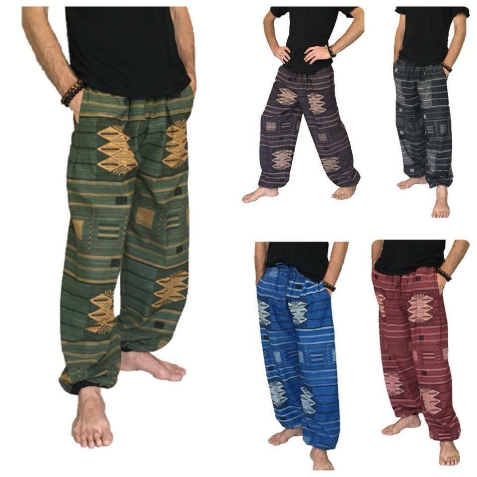 baggy pants mens one size cotton printed harem pants