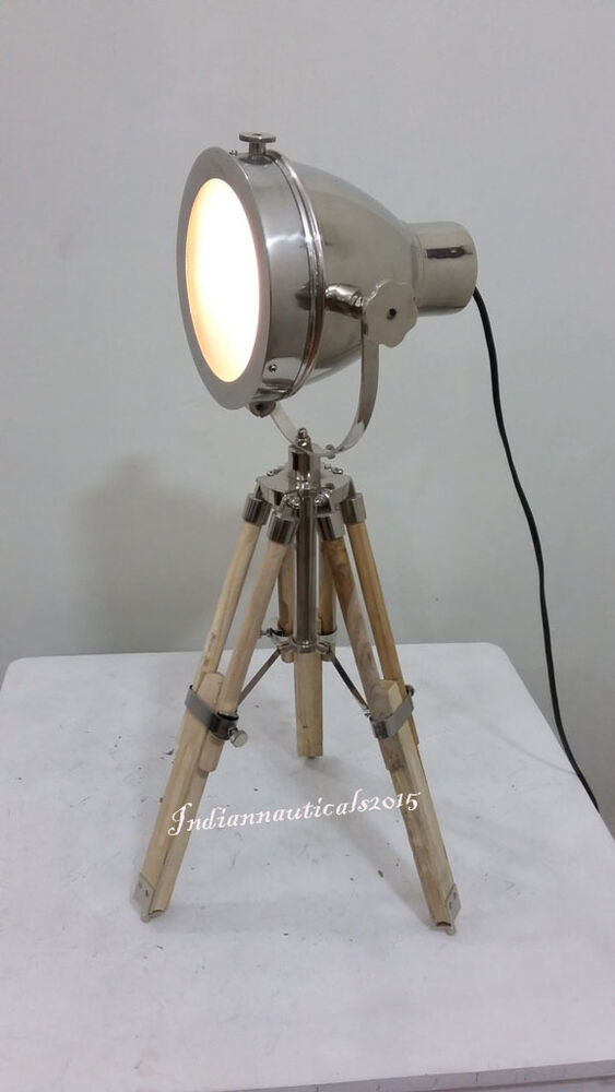 Vintage search light table spot lamp w teak wooden tripod for Tripod spotlight floor lamp in teak wood
