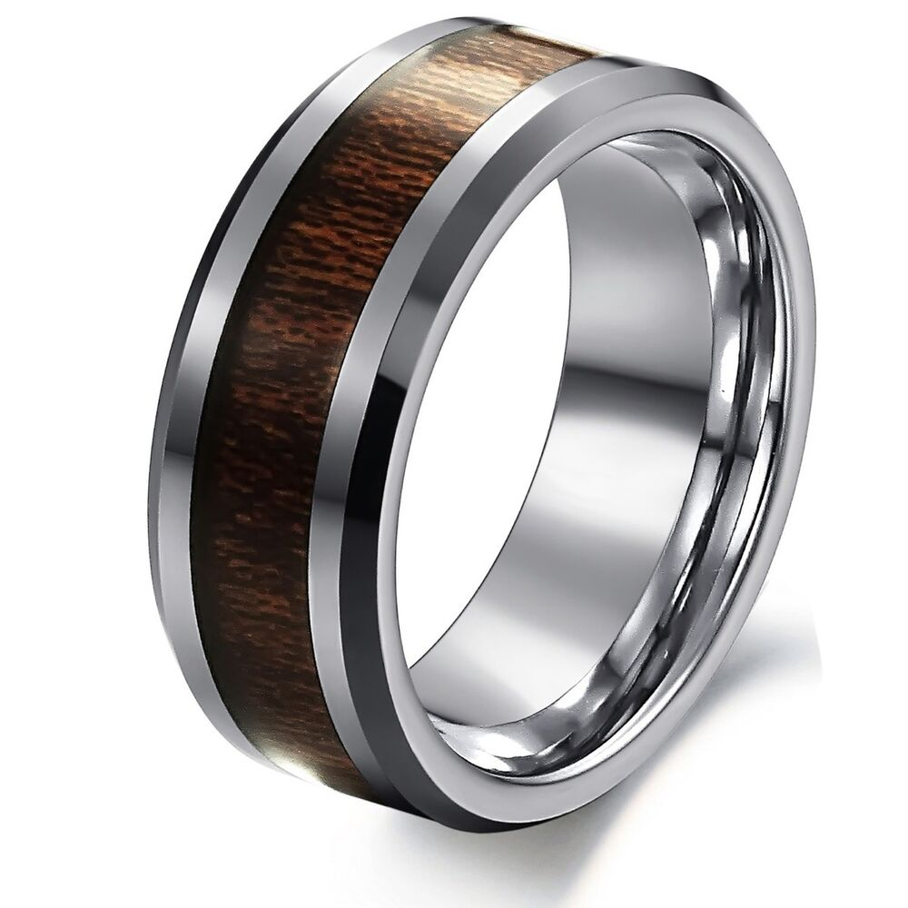 Male Wedding Bands Wood Inlay: 8mm Men's Silver Tungsten Carbide Wood Inlay Comfort Fit
