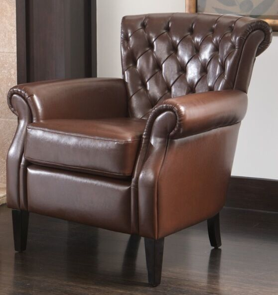 Tufted brown bonded leather club chair accent chairs arm for Accent chair with brown leather sofa