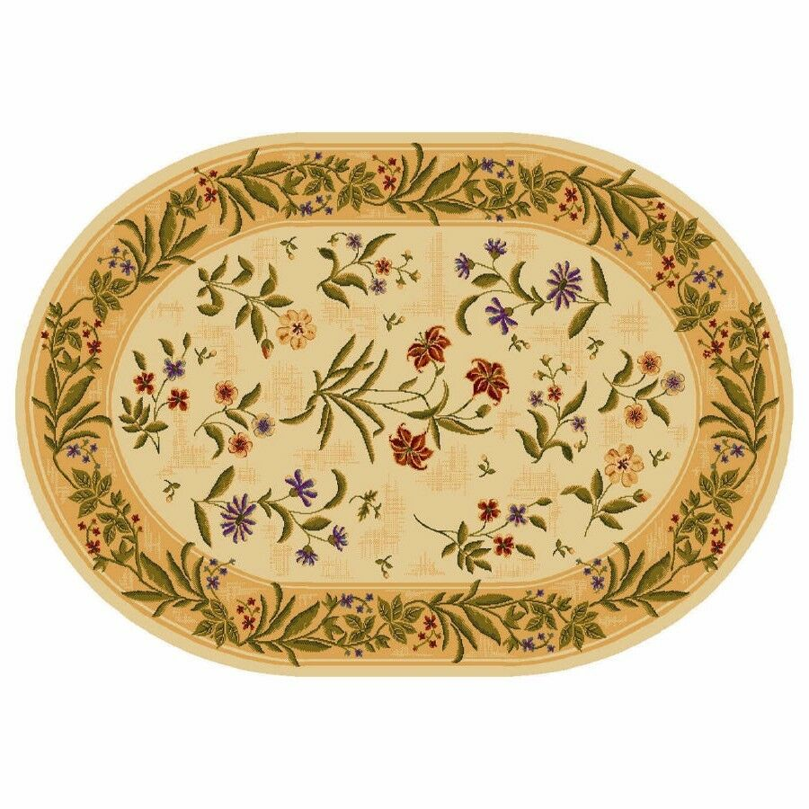 Summer Flowers Beige Multicolor Floral 8 X 11 Oval Area