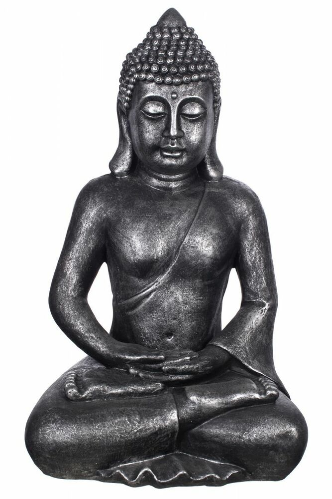 deko buddha figur xxl f r innen und au en 64cm hoch b4001 antiksilber ebay. Black Bedroom Furniture Sets. Home Design Ideas