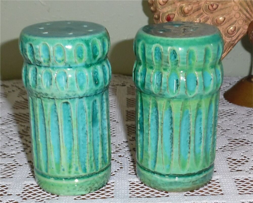 mid century turquoise blue bitossi italy salt pepper shakers set pottery ceramic ebay. Black Bedroom Furniture Sets. Home Design Ideas