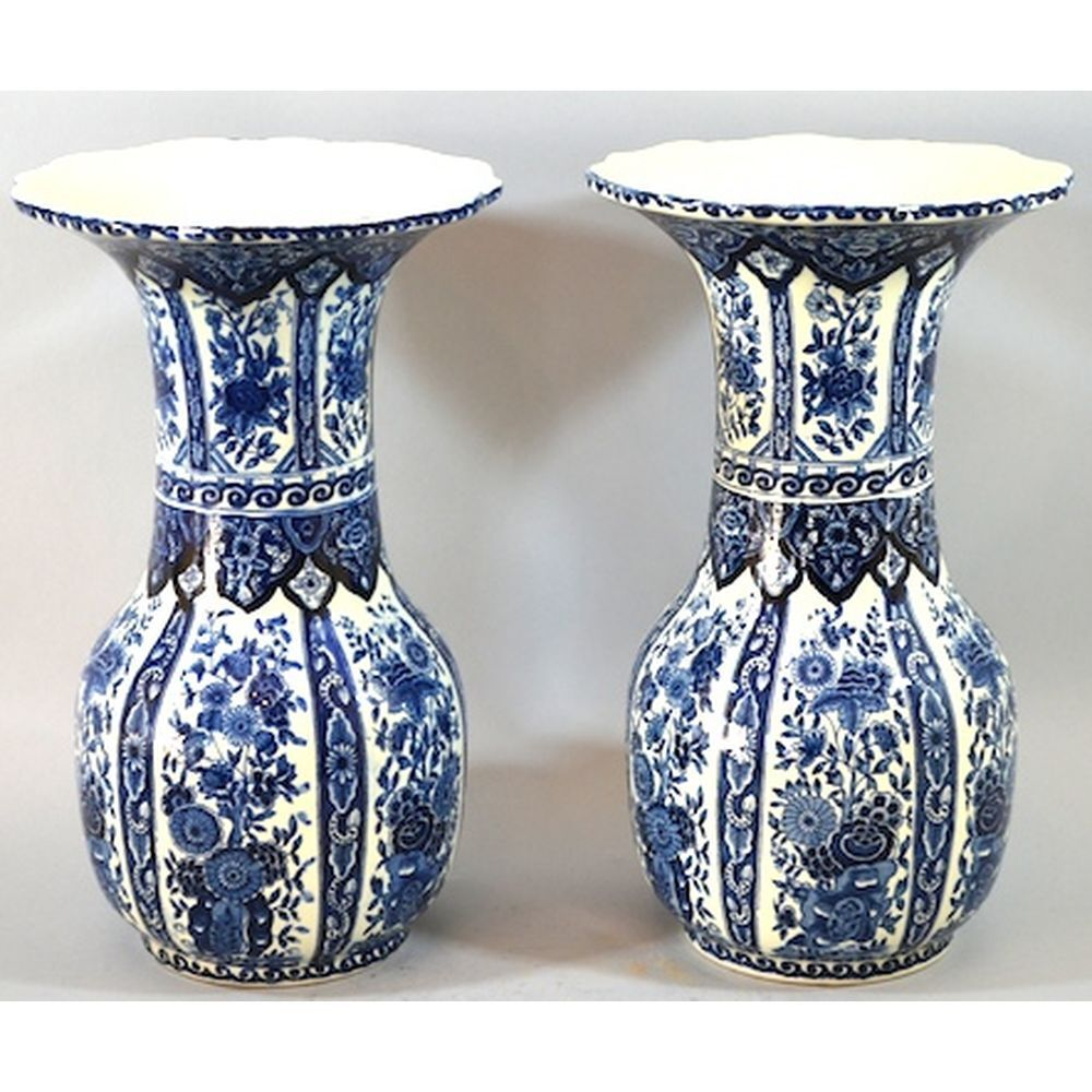 pair boch royal sphinx delft baluster vases having floral designs scalloped rims ebay. Black Bedroom Furniture Sets. Home Design Ideas