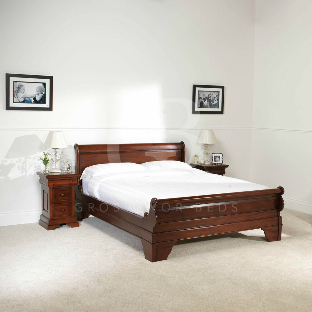 New 4ft 6 Double Solid Mahogany French Sleigh Bed Low Foot