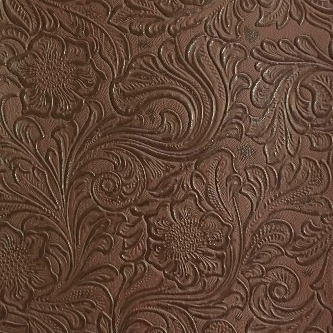 Faux Tooled Leather Upholstery Vinyl Fabric Laredo Mink