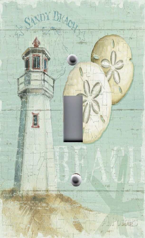 Light switch plate outlet covers beach decor lighthouse for Lighthouse switch plates