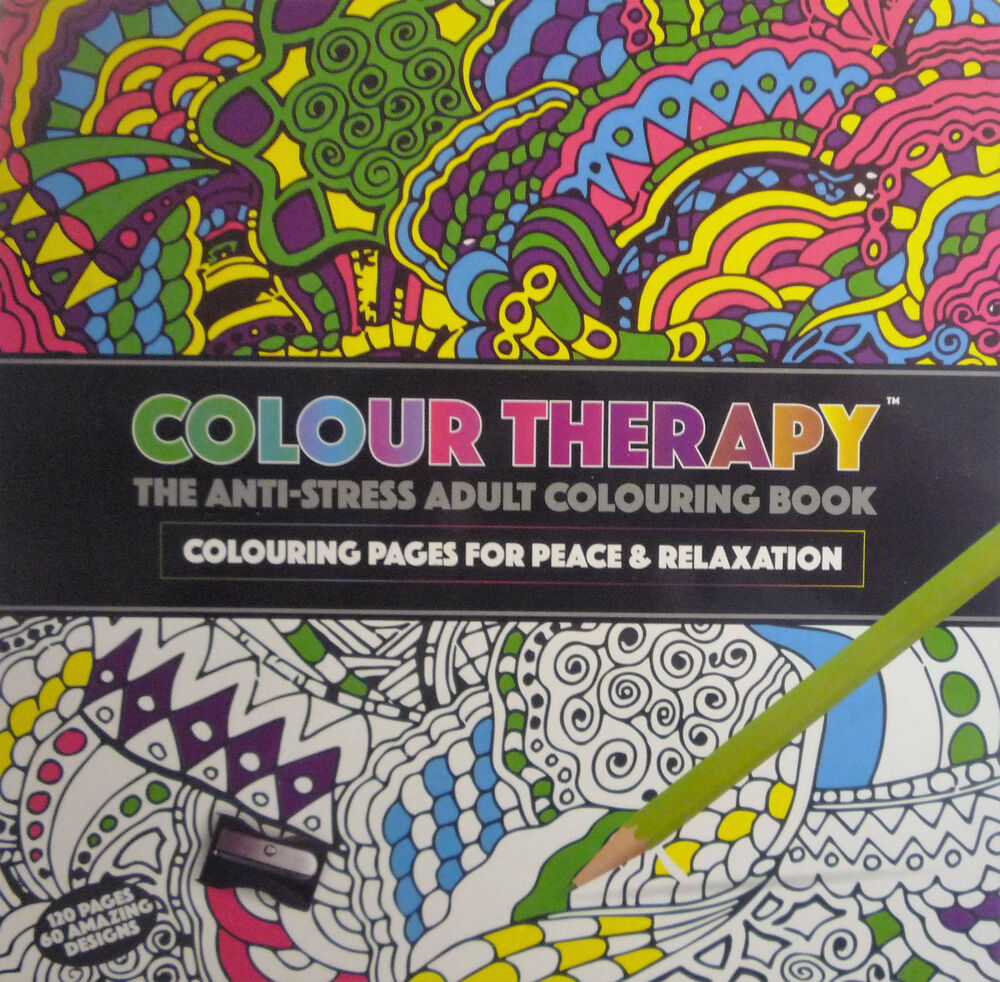 Colour Therapy Anti Stress Adult Colouring Book For Peace Relaxation 60 Pgs 5025572810333
