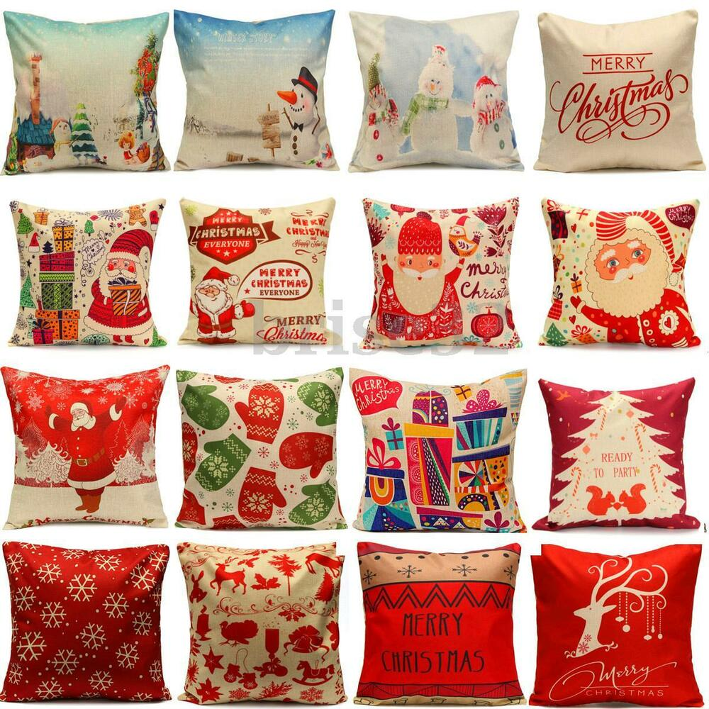 Christmas Xmas Linen Cushion Cover Throw Pillow Case Home
