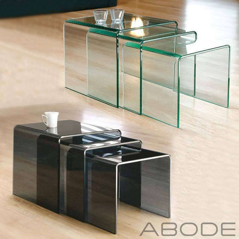 NEW MILAN SET OF 3 BENT GLASS NEST OF SIDE TABLES COFFEE