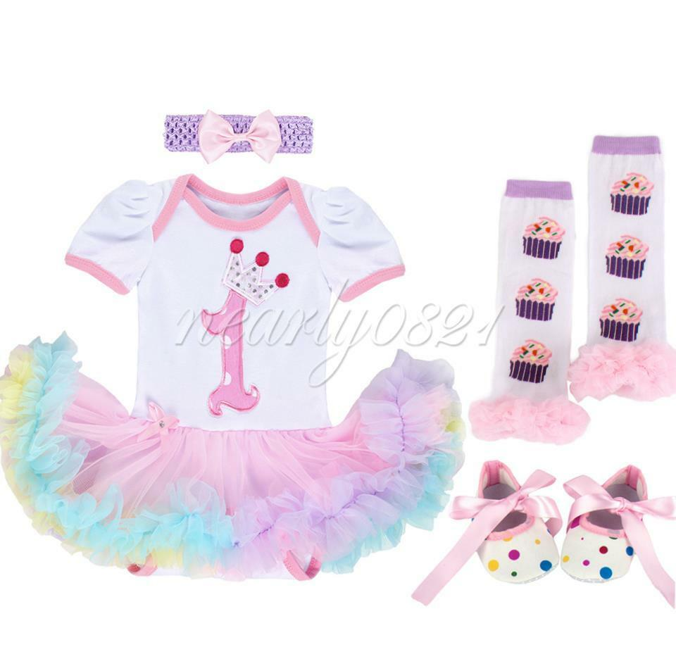 4PCS Topddler Baby Girl 1st Birthday Party Romper Outfit