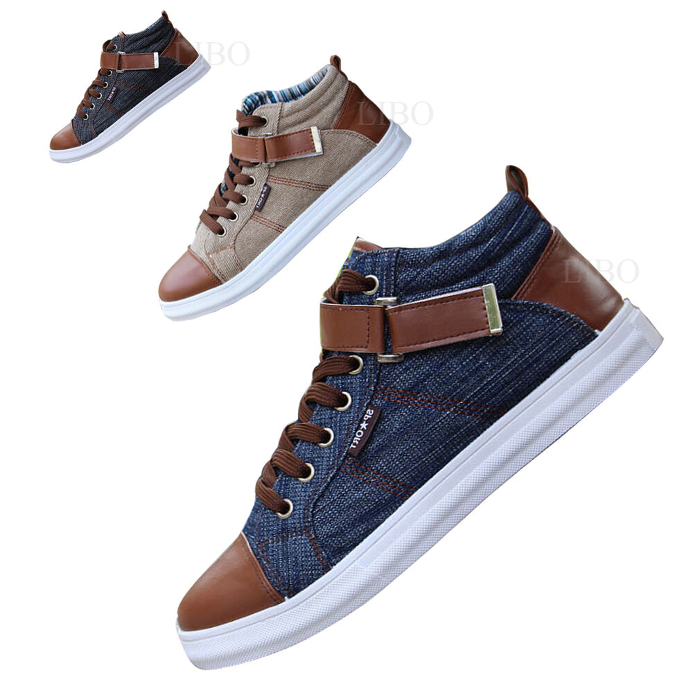Mens Jeans Sneakers Denim Flat Ankle Boots Casual Lace up High Top Sport Shoes | eBay