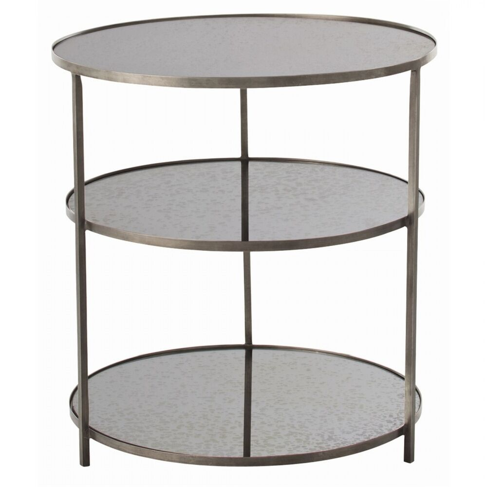"""28"""" Round Accent Table Contemporary Iron Mirror Glass Zinc"""