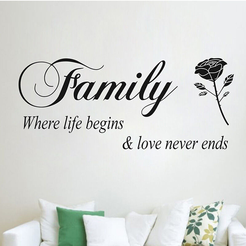 Download Family Where Life Begins Love Never Ends Vinyl Wall ...