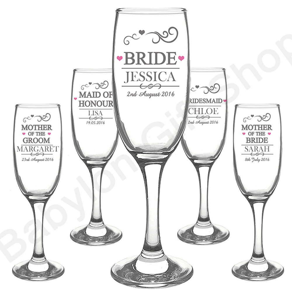 Wedding Gift Champagne Flutes: PERSONALISED Wedding Role Champagne Flutes Glasses