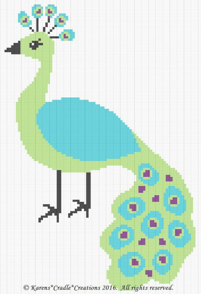 Crochet Patterns Peacock Graph Chart Baby Afghan