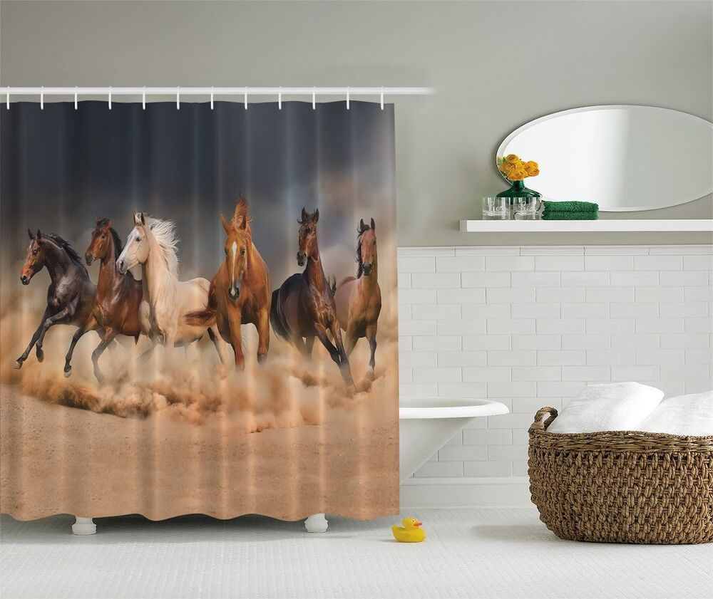 Majestic galloping horses graphic shower curtain western for Cowboy decor