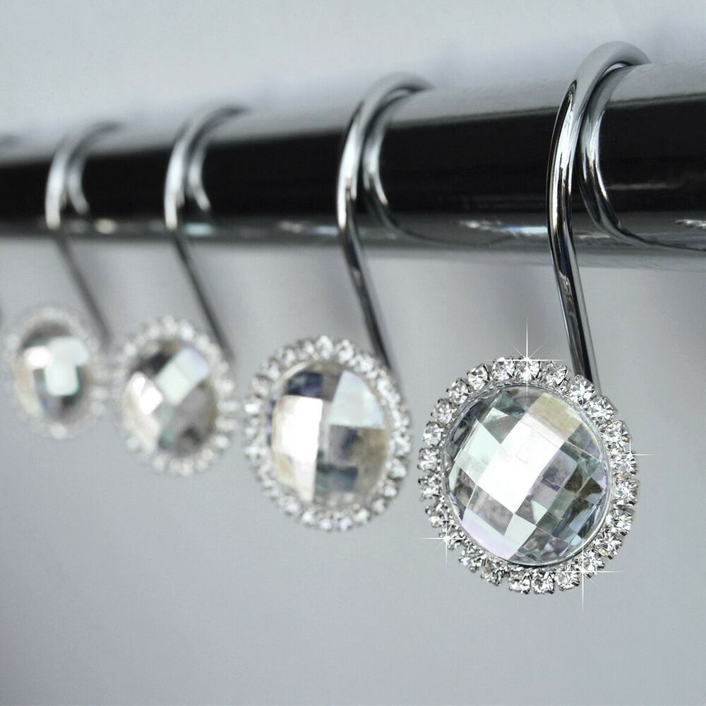 Shower curtain hooks rings crystal diamond rhinestone for Bathroom accessories with rhinestones