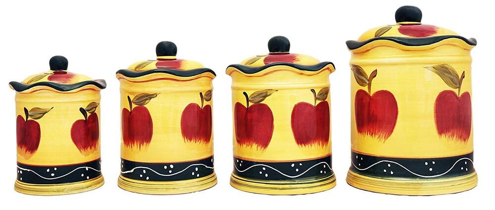 4 pc country apple canister set country new free for Apple kitchen decoration set