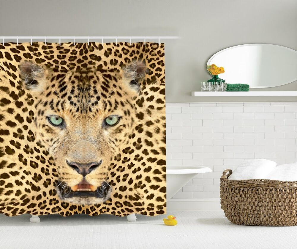Wild jungle tiger graphic shower curtain safari leopard animal print bath decor ebay