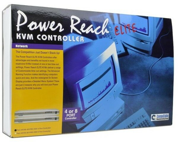 Silver//Gray Addlogix Power Reach ELITE 4-Port PS//2 KVM Switch w//OSD /& Cable