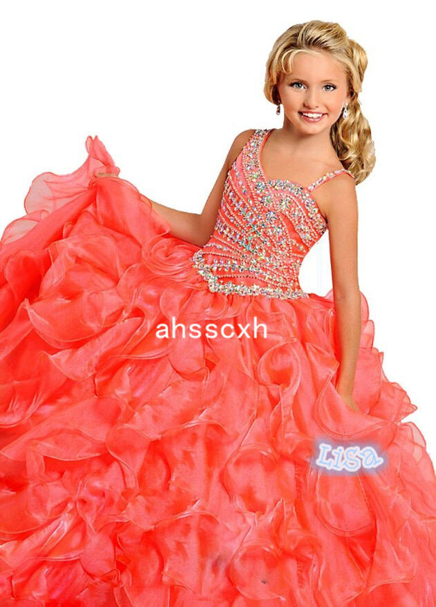 Girl Kids Pageant Orange Prom Party Princess Ball Gown