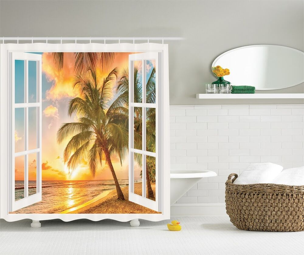 Tropical Ocean Sandy Beach Graphic Shower Curtain Sunset Scenic View Bath Decor Ebay