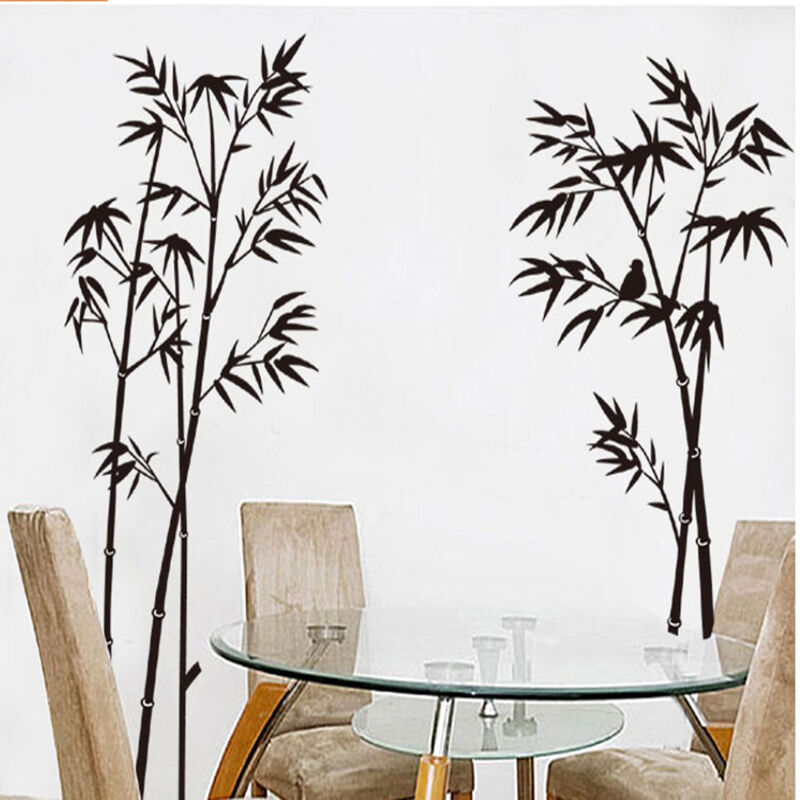Diy bamboo tree wall stickers removable vinyl decal mural for Diy tree wall mural