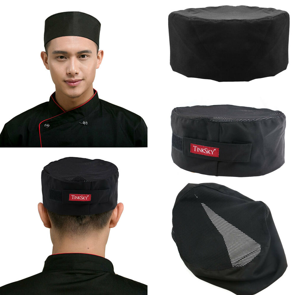 3pcs Mesh Top Skull Cap Catering Chefs Kitchen Hat With