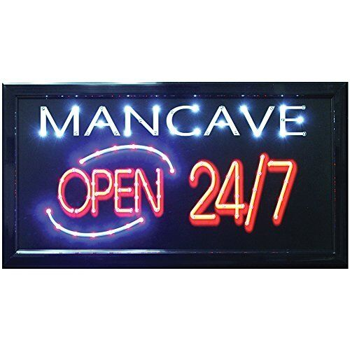Light Up Your Garage Creatively: Man Cave Open 24/7 LED Hanging Sign- Light Up Your Bar