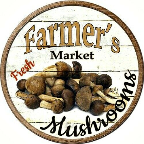 "MUSHROOMS Farmers Market 12"" Round Vintage Style Metal"