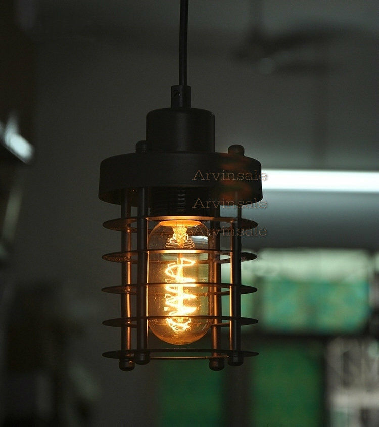 Loft Retro Industrial Metal Cage Ceiling Light Edison